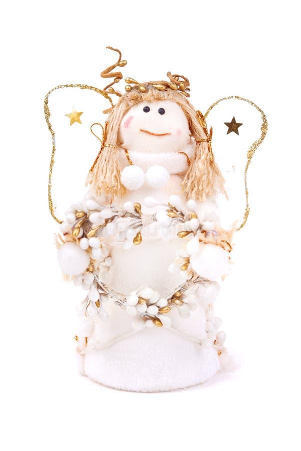 De pop van Kerstmis een engel op wit royalty-vrije stock foto's