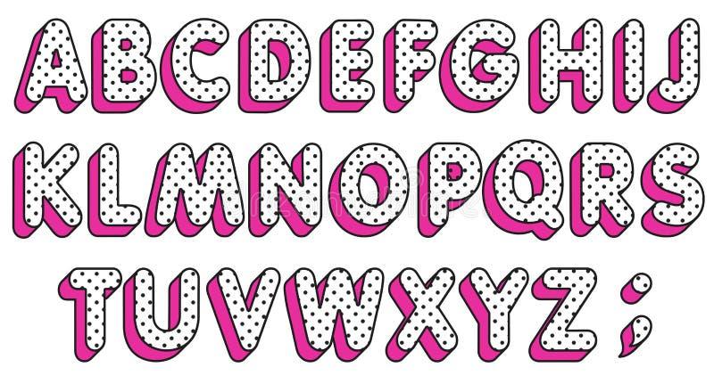 De pop van LOL girly abc Geplaatste de brieven van het stippenalfabet Pop-artdoopvont Vector royalty-vrije illustratie