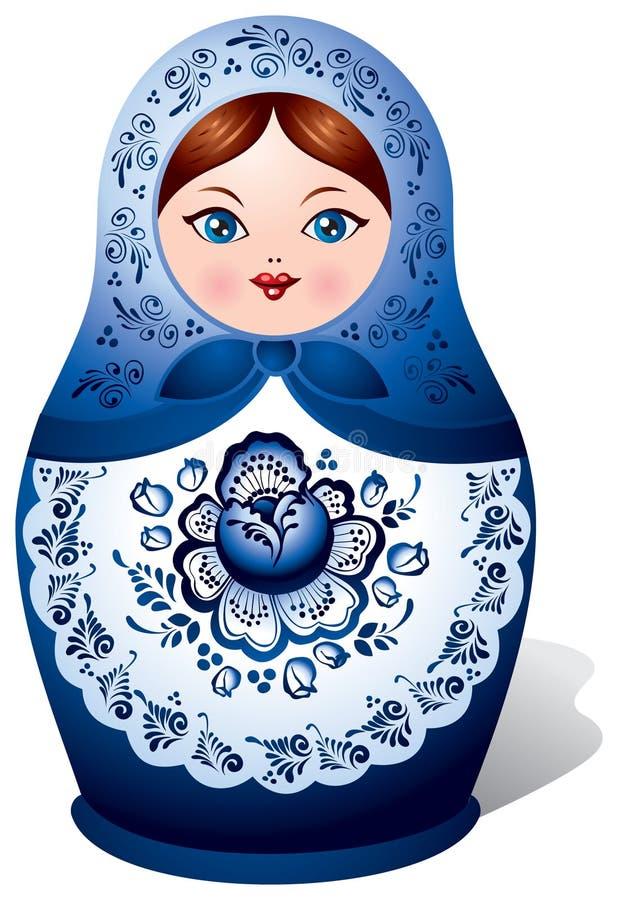 De pop van Matryoshka met ornament Gzhel stock illustratie