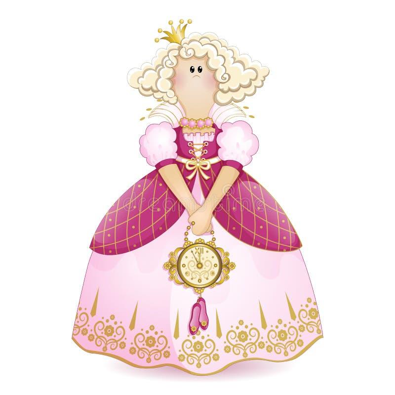 De pop van Tilda Prinses met een kroon in een roze baltoga met een decoratieve klok en pantoffels in zijn handen Vectorbeeldverha stock foto