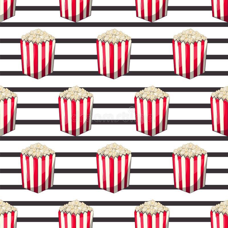 De popcorn is geïsoleerd in een doos van de strookomslag voor uw opbrengst, een voorgerechtemmer wanneer u op films let Patroon royalty-vrije illustratie