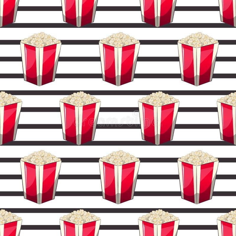 De popcorn is geïsoleerd in een doos van de strookomslag voor uw opbrengst, een voorgerechtemmer wanneer u op films let Patroon stock illustratie