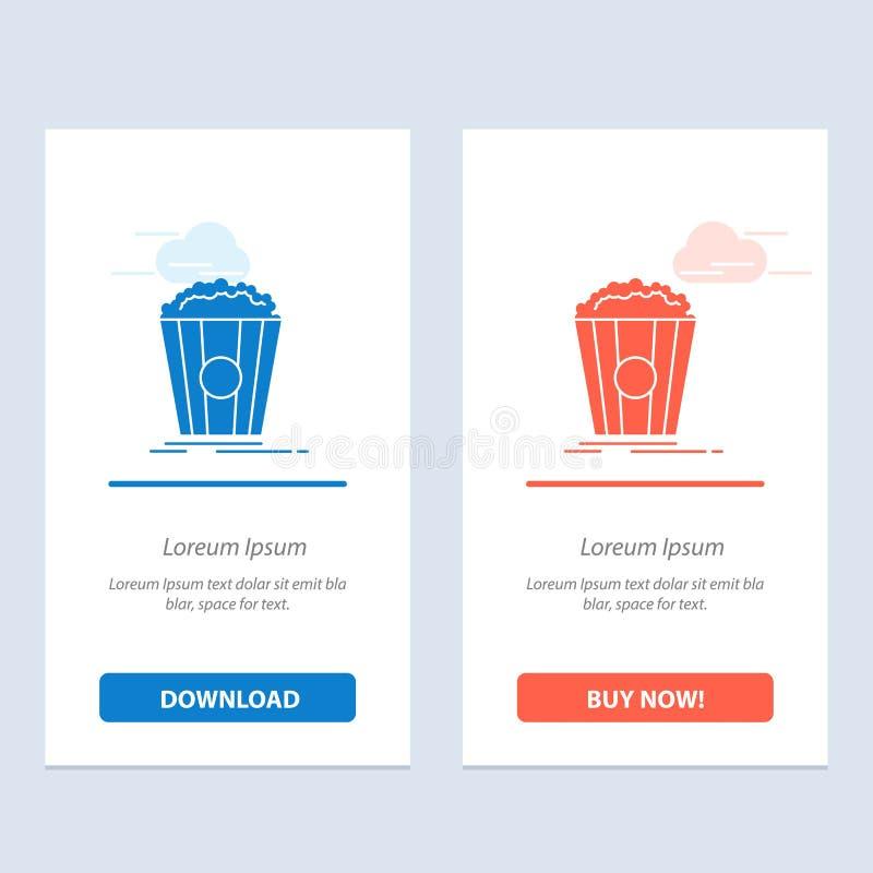 De popcorn, het Theater, de Film, de Snack Blauwe en Rode Download en kopen nu de Kaartmalplaatje van Webwidget vector illustratie