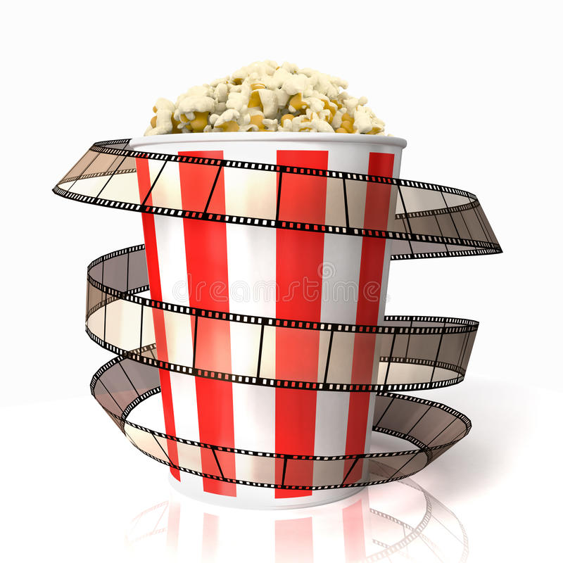 De popcorn wraped filmstrook royalty-vrije illustratie