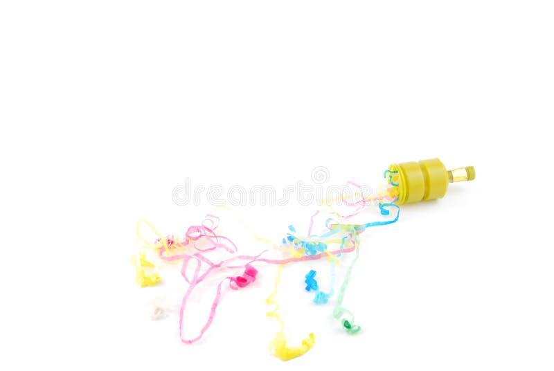 De popcornpannen van de partij op wit stock afbeelding