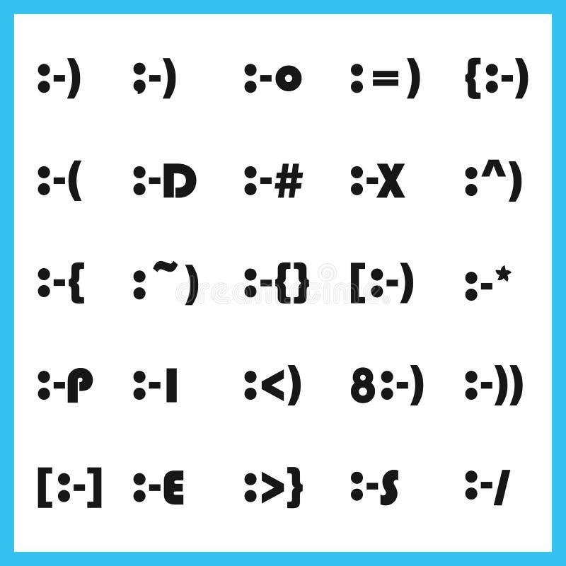 De populaire het type van gelaatsuitdrukking dikke doopvont karaktergezichten emoticons plaatsen vector illustratie