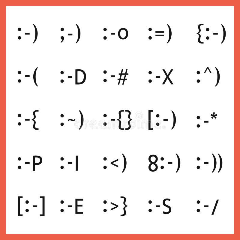 De populaire het type van gelaatsuitdrukkingdoopvont karaktergezichten emoticons plaatsen royalty-vrije illustratie