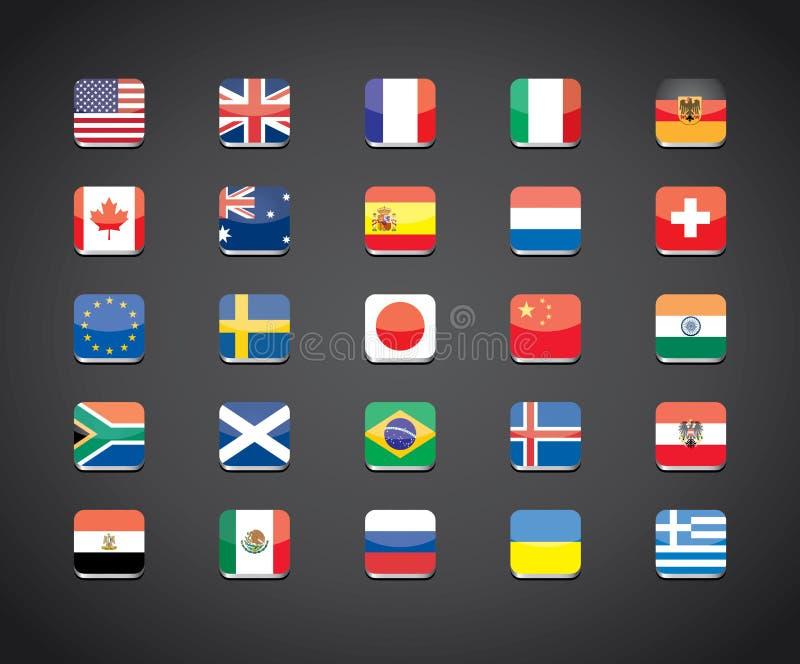 De populaire landen markeert apps pictogrammen royalty-vrije illustratie