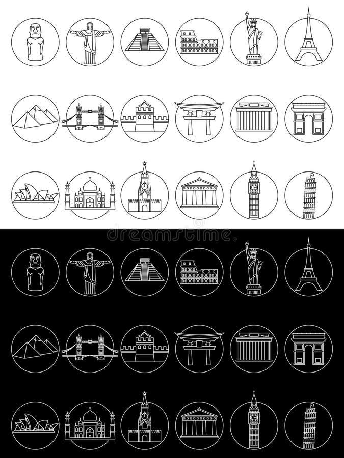 De populaire pictogrammen van reisoriëntatiepunten royalty-vrije illustratie