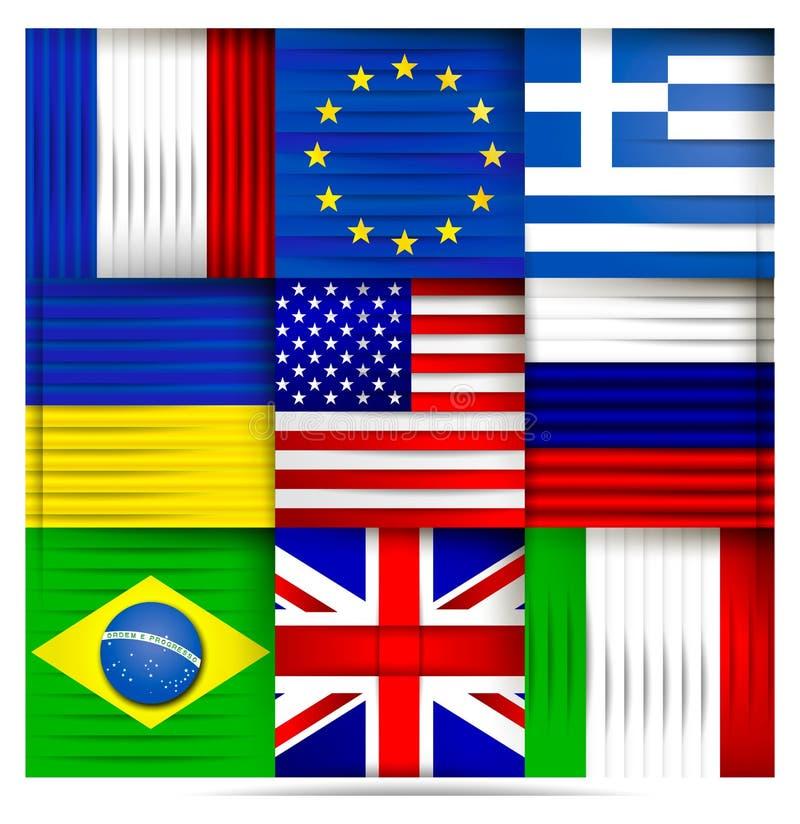 De populaire samenvatting van wereldvlaggen vector illustratie