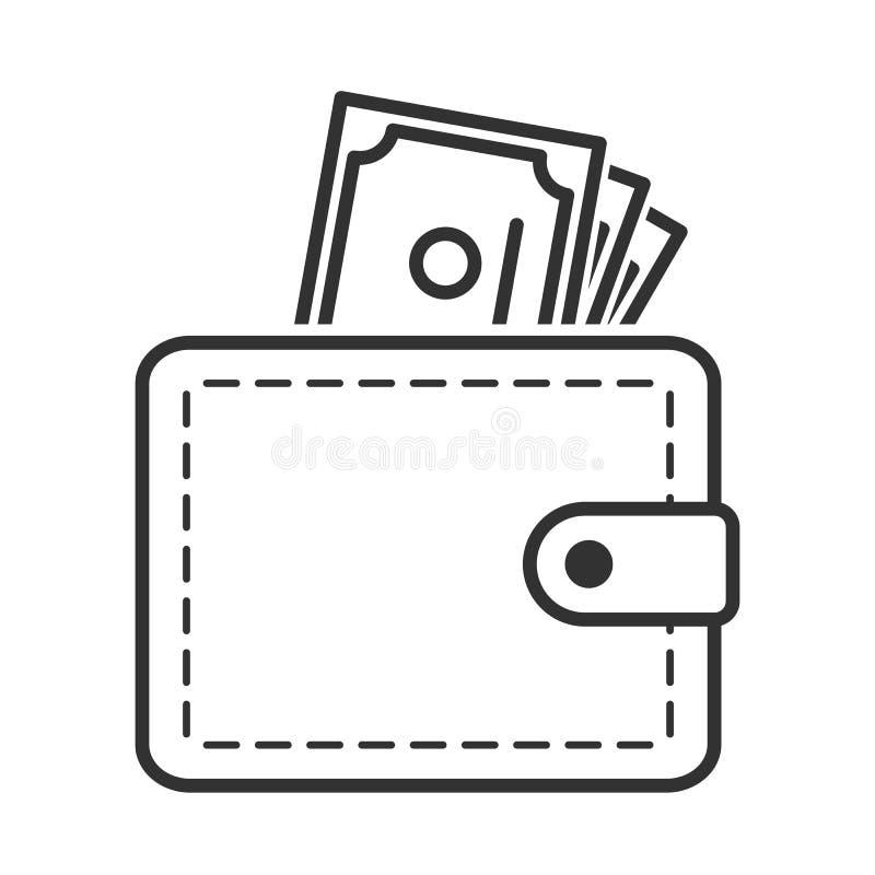 De portefeuille en de Bankbiljetten schetsen Vlak Pictogram royalty-vrije illustratie