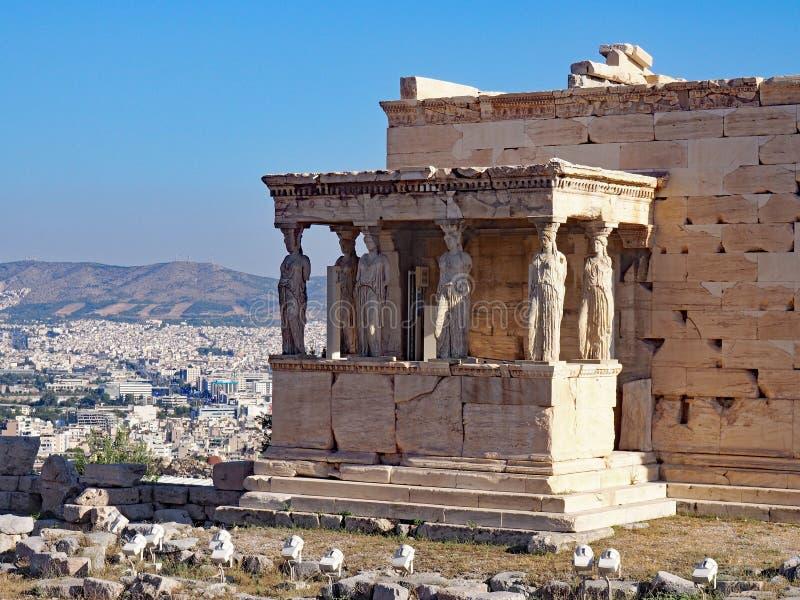De Portiek van de Kariatiden, Athene, Griekenland stock fotografie