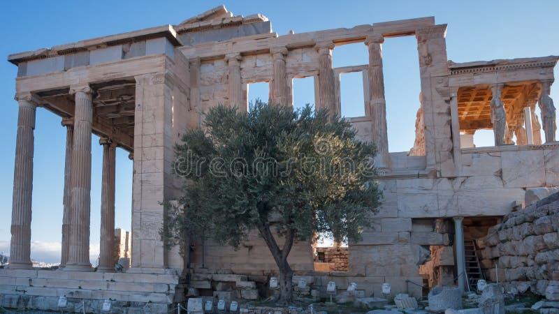 De Portiek van de Kariatiden in de Erechtheionat-Akropolis van Athene royalty-vrije stock foto's