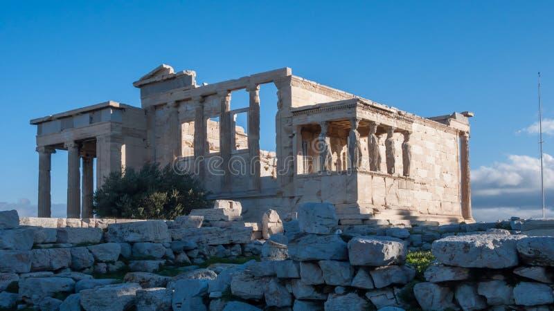 De Portiek van de Kariatiden in de Erechtheionat-Akropolis van Athene royalty-vrije stock afbeelding