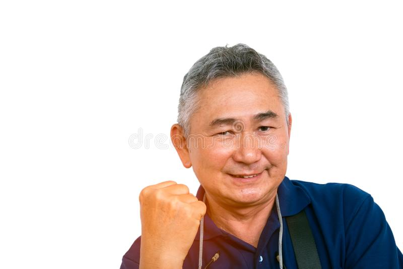 De portretten van de bejaarde Aziatische mens voelt zeker royalty-vrije stock foto