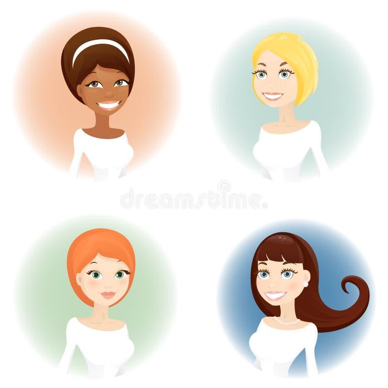 De portretten van de vrouw royalty-vrije illustratie