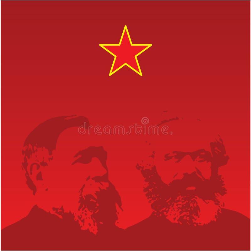 De portretten van Marx en van Engels - vector stock illustratie