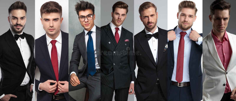 De portretten van zeven verschillende toevallige mensen stock afbeelding