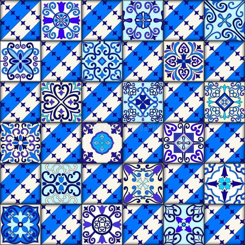 De Portugese vector van het tegels naadloze patroon met blauwe en witte ornamenten Talavera, azulejo, Mexicaanse, Spaanse of Arab stock fotografie