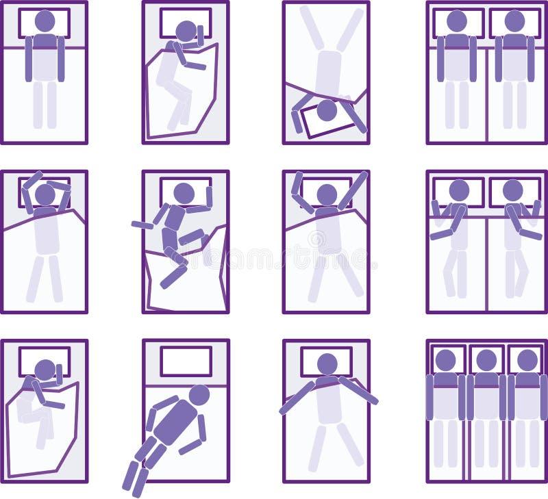 De posities van de slaap royalty-vrije illustratie