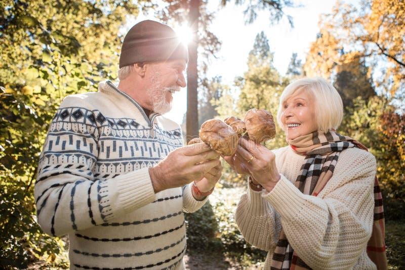 De positieve gelukkige paddestoelen van de paarholding in hun handen royalty-vrije stock afbeelding