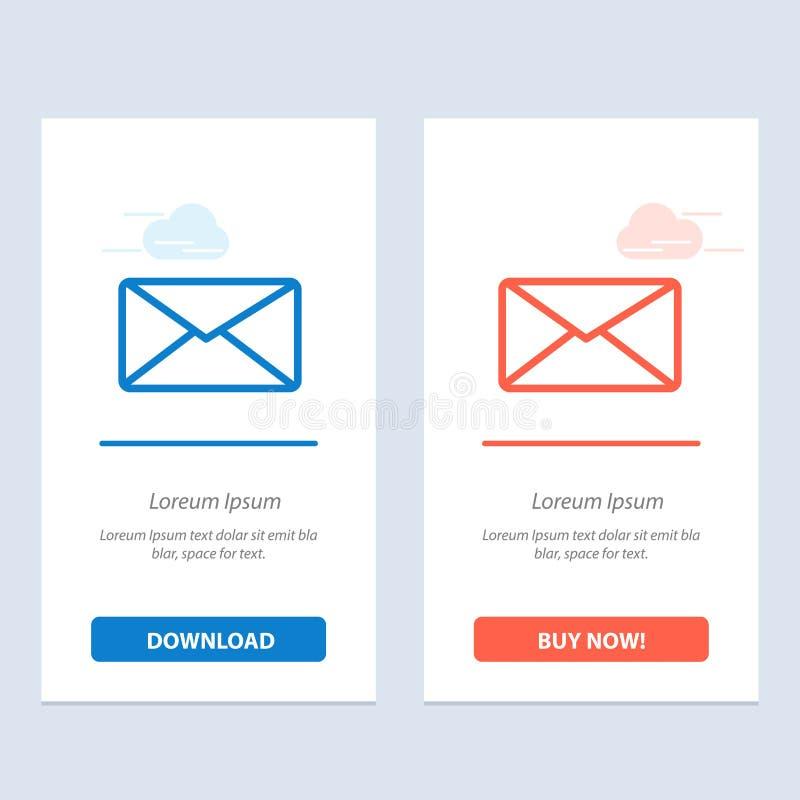 De post, E-mail, Gebruiker, zet Blauwe en Rode Download om en koopt nu de Kaartmalplaatje van Webwidget royalty-vrije illustratie