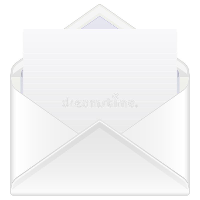 De post en het blad van de envelop royalty-vrije illustratie