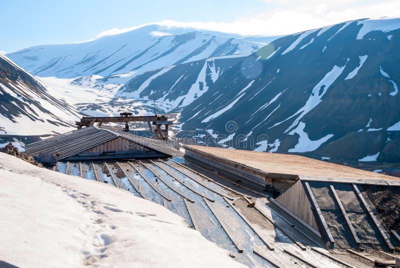 De post van de Abanodonedkolenmijn in Longyearbyen, Svalbard royalty-vrije stock foto's