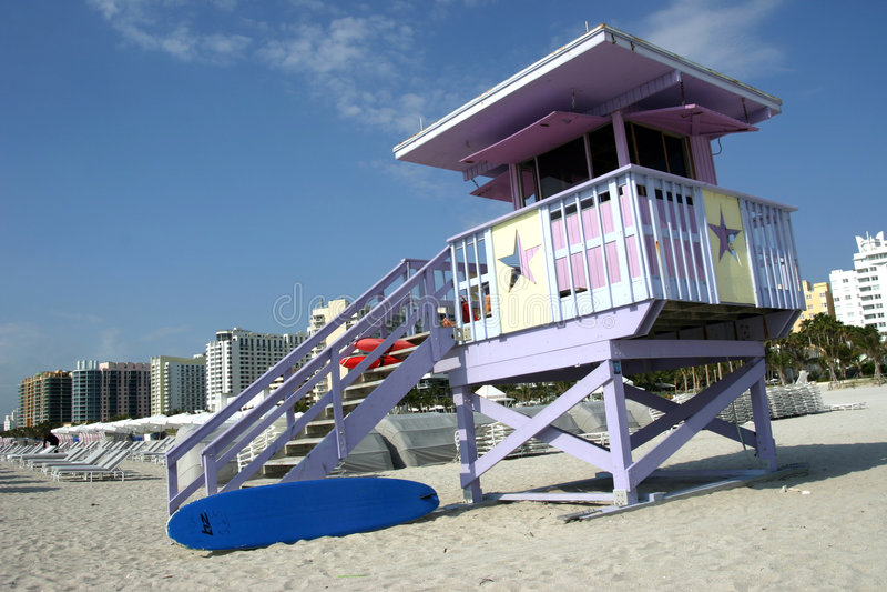 De post van de badmeester, het strand van Miami royalty-vrije stock foto's