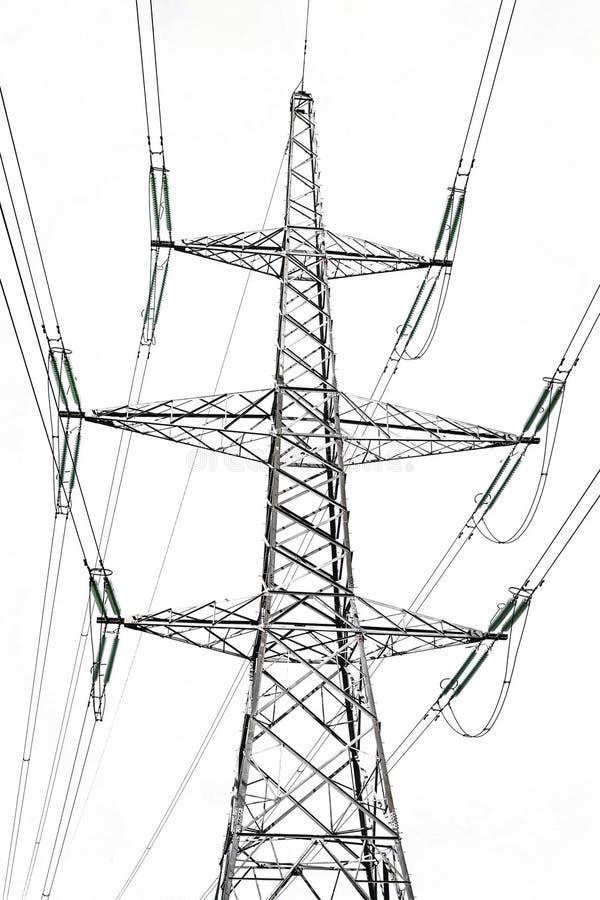 De post van de hoogspanningselektriciteit op wit wordt geïsoleerd dat royalty-vrije stock foto's