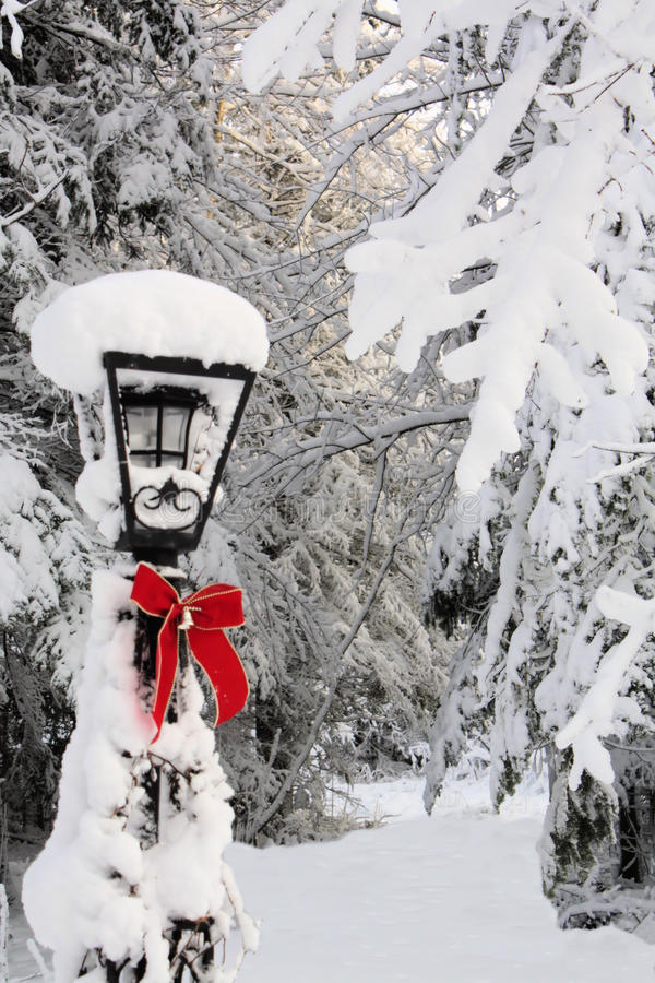 De Post van de lamp in de Winter royalty-vrije stock fotografie