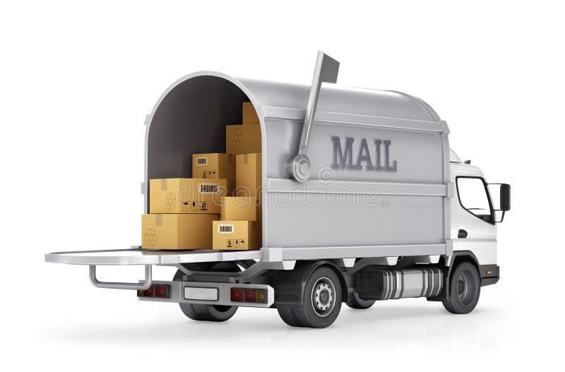 De post van de leveringsvrachtwagen stock illustratie