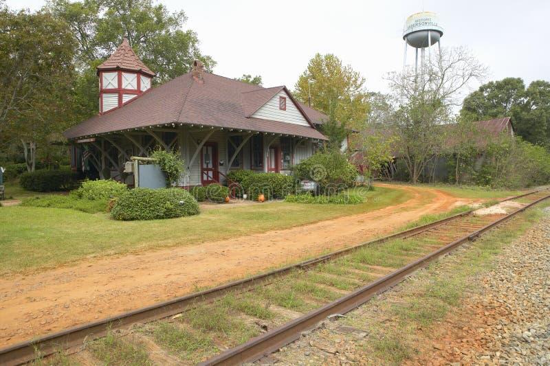 De post van de spoorweg in historische Andersonville Georgië stock afbeeldingen