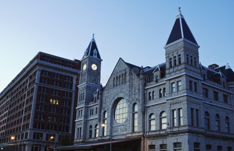De Post van de Unie binnen de stad in van Louisville stock foto