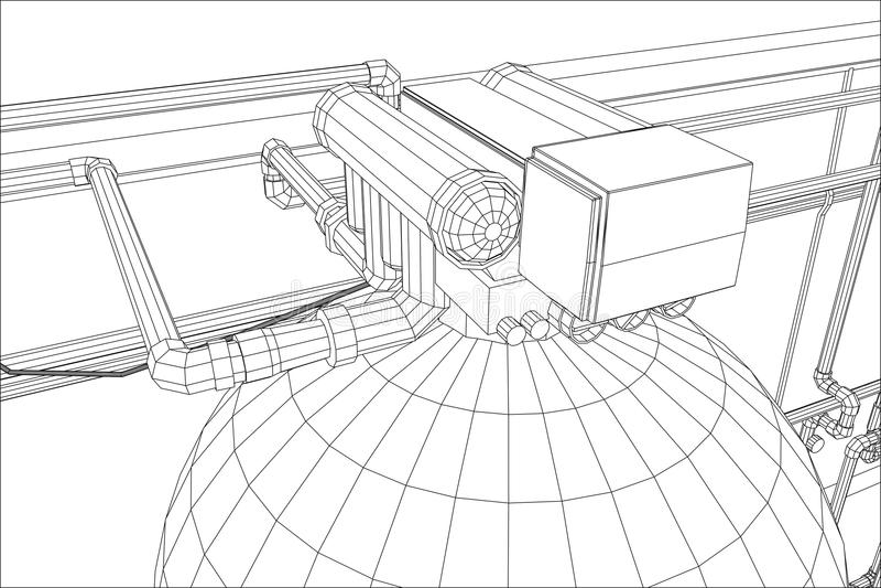 De post van de waterreiniging Industriële Apparatuur Vindende illustratie van 3d vector illustratie