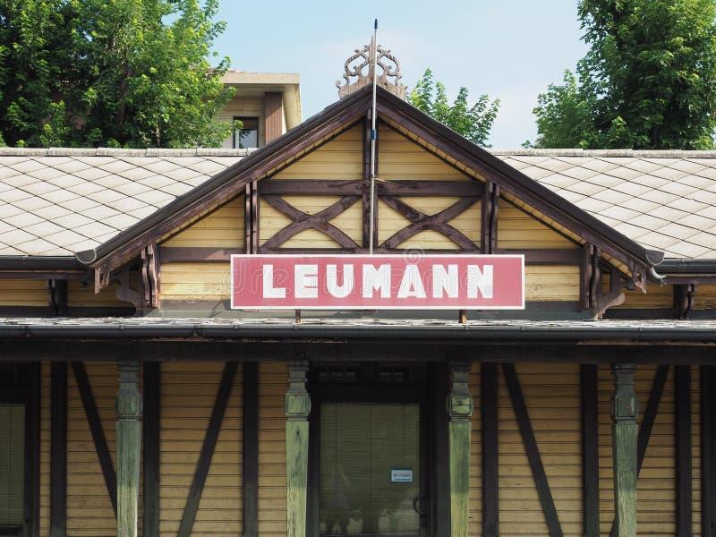 De post van de Leumanntram in Collegno royalty-vrije stock fotografie