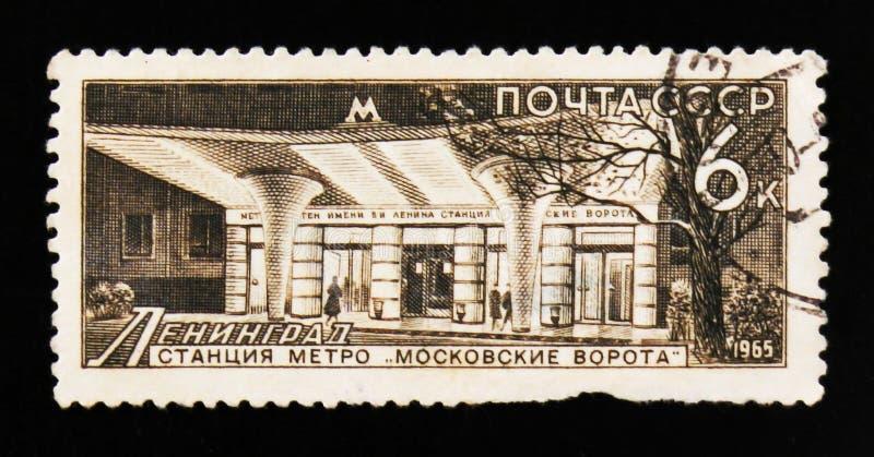 De post van de de poortmetro van Moskou, Leningrad, circa 1965 royalty-vrije stock afbeelding