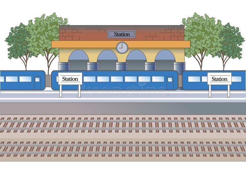 De de postbouw en platform van het postbeeld vector illustratie