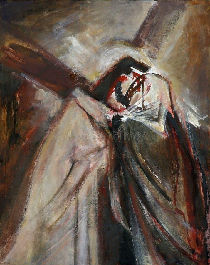 de 4de Posten van het Kruis, Jesus ontmoet Zijn Moeder stock foto's