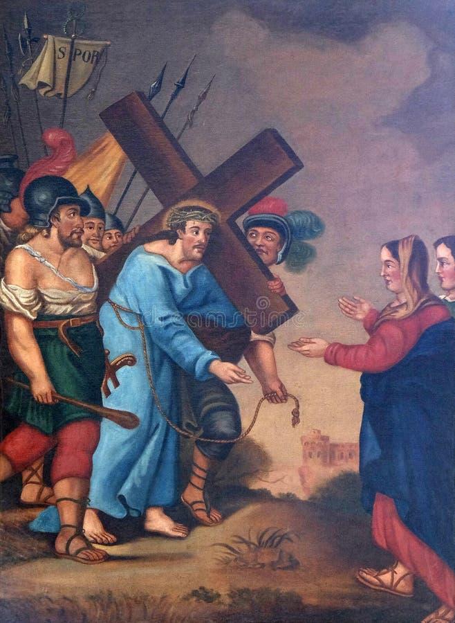 de 4de Posten van het Kruis, Jesus ontmoet Zijn Moeder stock afbeelding