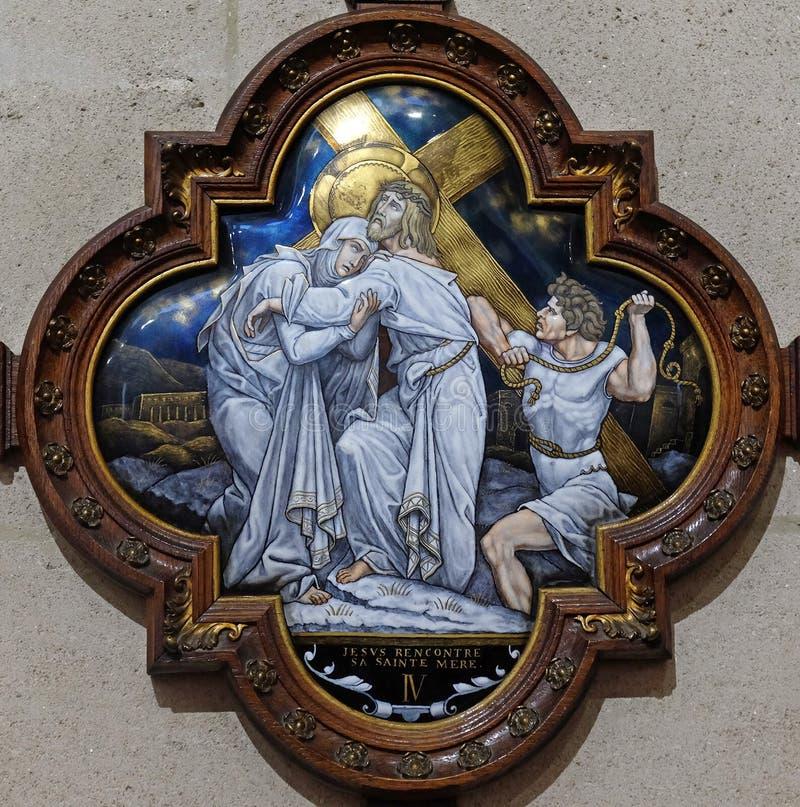 de 4de Posten van het Kruis, Jesus ontmoet Zijn Moeder royalty-vrije stock afbeelding
