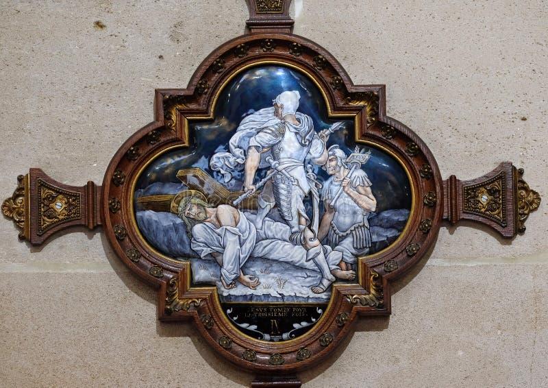 de 9de Posten van het Kruis, Jesus valt de derde keer royalty-vrije stock afbeeldingen