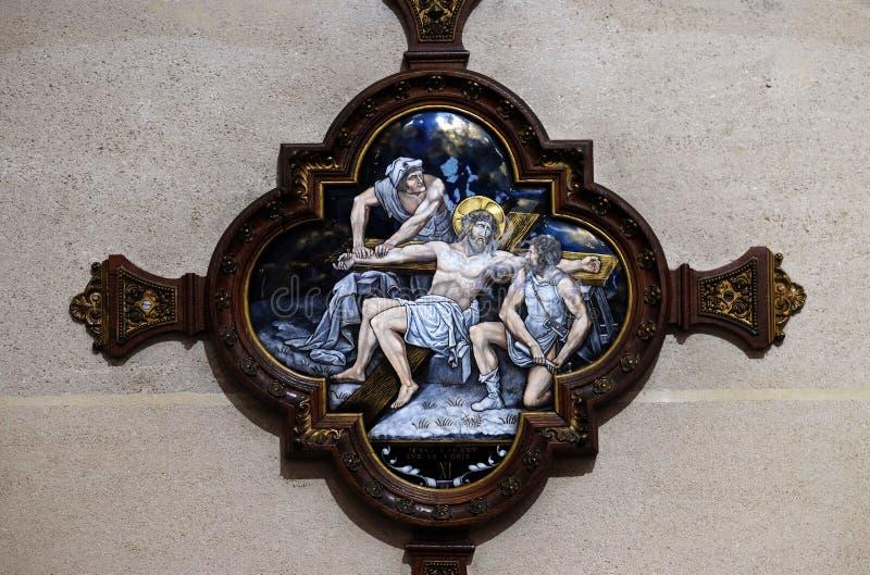 11de Posten van het Kruis, Kruisiging: Jesus wordt genageld aan het kruis royalty-vrije stock fotografie