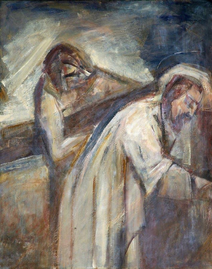 de 5de Posten van het Kruis, Simon van Cyrene draagt het kruis stock illustratie