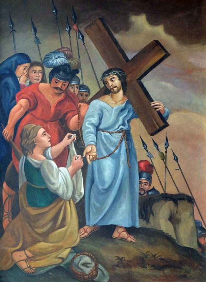 de 6de Posten van het Kruis, Veronica veegt het gezicht van Jesus af stock afbeeldingen