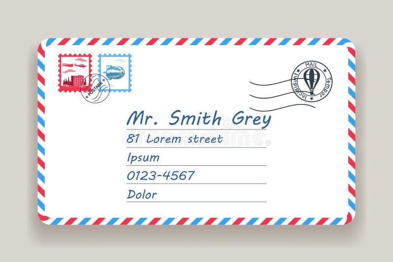De postende van de de brievenpostzegel van de adrespost vectorillustratie stock illustratie
