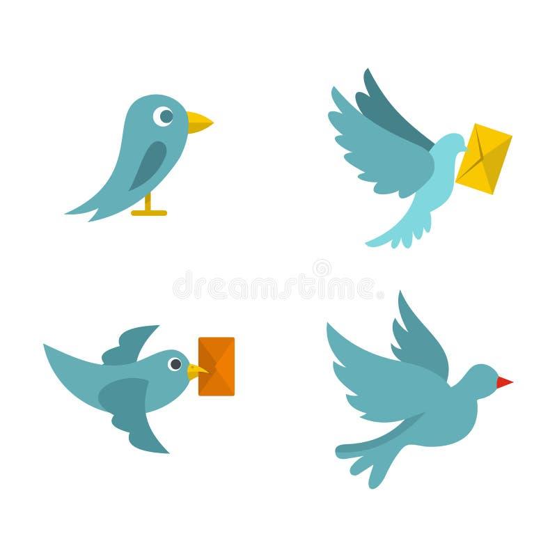 Download De Postreeks Van Het Vogelpictogram, Vlakke Stijl Vector Illustratie - Illustratie bestaande uit duif, e: 107707138