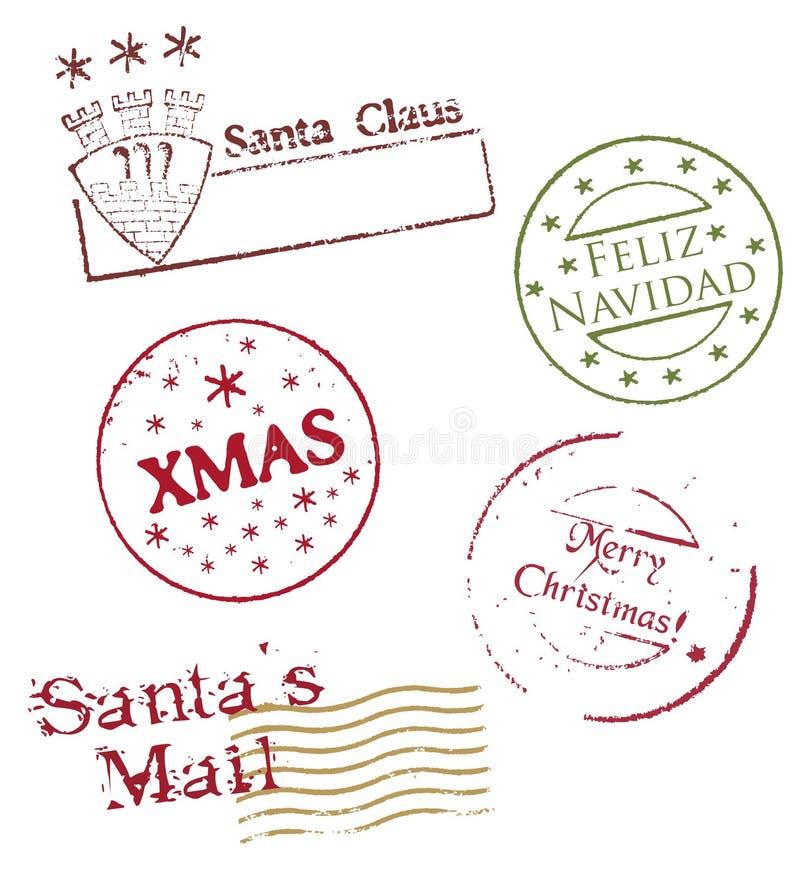 De poststempels van Kerstmis - vector royalty-vrije stock afbeeldingen