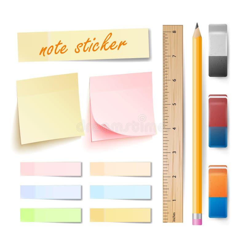 De postvector van de Notasticker reeks Het geheugen vult Kleurrijk op De Poststokken van de bureaukleur Gom, Potlood, die Heerser royalty-vrije illustratie