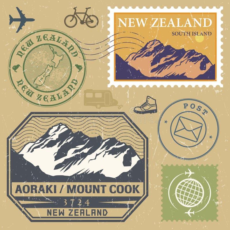 De postzegel met Aoraki wordt geplaatst/zet Cook die op